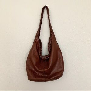Lucky Brand Brown Leather Whipstitch Hobo Bag